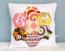 Cushion Pillow Cover Patchwork Vintage Retro Hexagon Flower