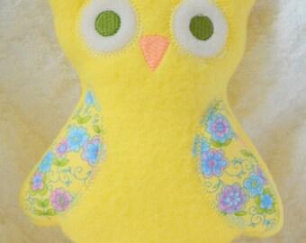 Handmade Stuffed Yellow Fleece Owl