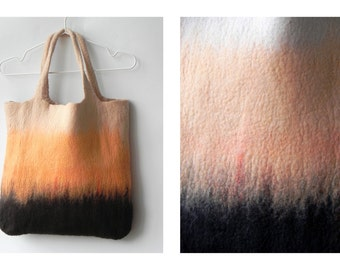 Brown beige orange bag, Unique handbag, original colors mix, felt tote bag, wool handbag, GIFT idea, Ready to send,