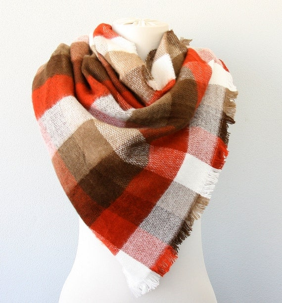 Rust brown plaid blanket scarf unisex winter scarf large vegan scarf fall fashion christmas gift idea under 20 burnt orange  tartan shawl