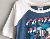 Womens & Girls Top - Captain America Upcycled Raglan, choose your size girls 6 thru womens L