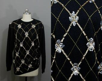 Vintage black sequined sweater dress