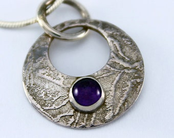 HAndcrafted Sterling Silver Natural Amethyst Circle Pendant Textured Surface February Birthstone Contemporary Artisan Jewelry 0170523282015