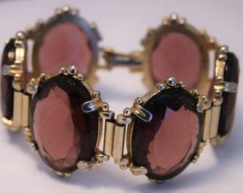 Vintage purple glass bracelet.  Chunky glass bracelet