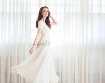 35% OFF - Vintage 1940s Wedding Dress - Chiffon 40s Wedding Gown - Spark of Love Wedding Gown