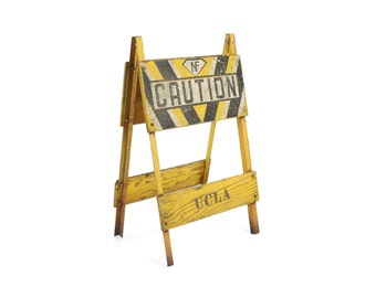 vintage 1950s wooden UCLA road barricade