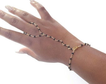 Brass hand chain- simple beaded hand chain- slave bracelet