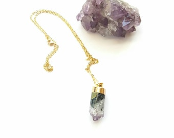 Raw  amethyst stone necklace// amethyst and gold druzy pendant//bohemian jewelry//24k gold,everyday necklace
