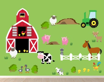 Farm Decal REUSABLE Non-toxic Fabric Kids Decals, WD32