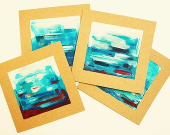 Blue and Red - 4 original art notecards