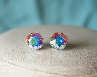 Handmade Swarovski Earrings Swarovski Crystal AB Earrings Crystal Earrings Crystal Cushion Stone Earrings Swarovski Aurora Borealis Earrings