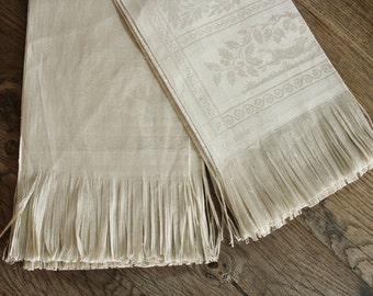 2 Unused Large Antique Damask Linen Guest Tea Towels with Stags and Oak Leaves and Acorns