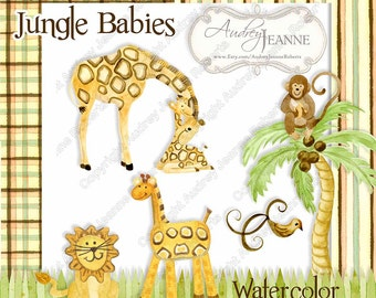 Digital Clipart Baby Giraffe Monkey Lion Animals Watercolor Clip Art Palm Tree Grass Border Nursery Baby Shower Scrapbooking Huge Kit