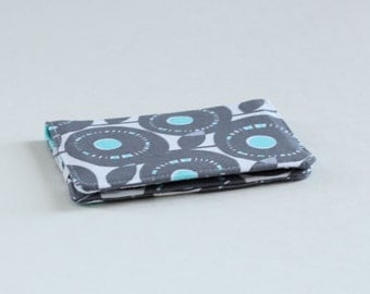 Gray and Aqua Floral Wallet, Floral Slim Wallet, Fabric Floral Card Wallet in Gray and Aqua - READY to SHIP