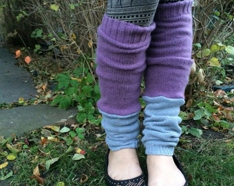 LOVE Sale Eco Leg Warmers, sweater knit leg warmers, hippie leg warmers, boho, reversible leg warmers, patchwork leg warmers, lilac and gray