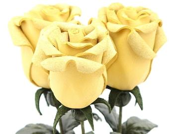 Leather rose lemon yellow leather flower third anniversary wedding gift long stem flower 3rd anniversary leather anniversary bouquet