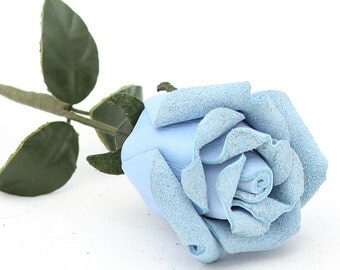 Baby blue leather rose third Anniversary wedding gift Long Stem leather flower Valentine's Day 3rd Leather Anniversary Mother's Day