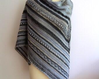 Chunky Wool Shawl, woman shawl, hand knit shawl, knit shawl, shawl wrap