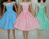 "Handmade 11.5"" fashion doll clothes - Choose 1 - blue, pink or Aqua dress"