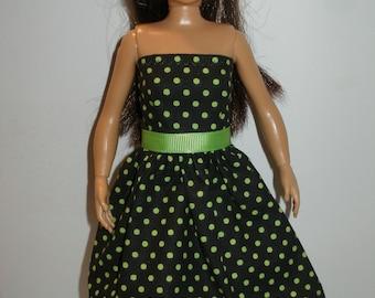 Handmade doll clothes - black and green polka dot dress