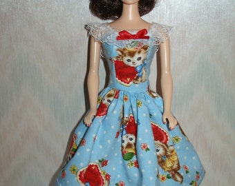 """Handmade 11.5"""" fashion doll clothes - blue and red harts and kittens dress"""