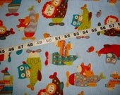 Kids Flannel fabric airplane lions giraffes owls cotton print quilt sewing material to sew for crafting by the yard BTY quilters coordinate
