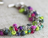 OUT OF TOWN - Spring Flowers Cluster Bracelet - Colorful Pink Kelly Green Lime Purple Magenta Teal Silver Bracelet Rainbow  Multi Color