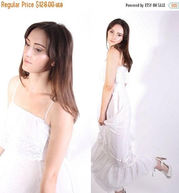 70% Off FINAL SALE - Vintage Bohemian White Long Wedding Dress / Wedding Dress / Long Dress / Cotton Dress / Vintage Lace / Boho Dress / Max