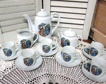 Vintage Coffee or Chocolate Service Handpainted Victora China