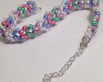 Pastel Ankle Bracelet/Handmade Beaded Ankle Bracelet/Anklet/Anklet/Bracelet/Infinity Bead/Herringbone