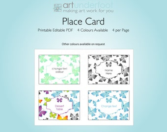 PDF Place Card with Pretty Butterflies and editable text area.