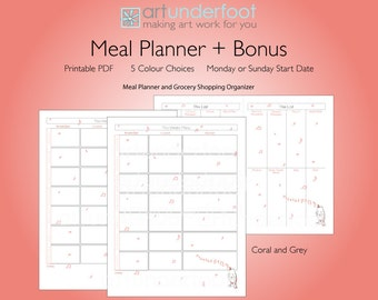 PDF Meal Planner with Music Notes and Singing Bird. Bonus Matching Grocery Shopping Organizer.