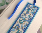 Teal and Blue Floral Laminated Bookmark