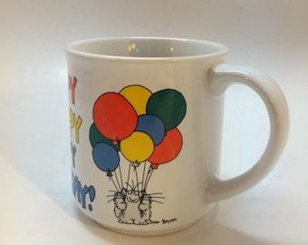 Boynton Birthday Mug  Cat with Balloons Happy Happy Happy Birthday!