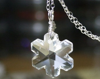 ON SALE Let It Snow Pendant - Swarovski Crystal Snowflake Necklace - All Sterling Silver