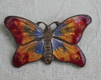 Antique - Enamel multi-coloured Butterfly Brooch  - c1930s