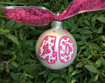40th Birthday Ornament, Hand Painted, Personalized Christmas Ornament, FREE Personalizing, Over the Hill Bauble, Birthday Gift, Chetah Print