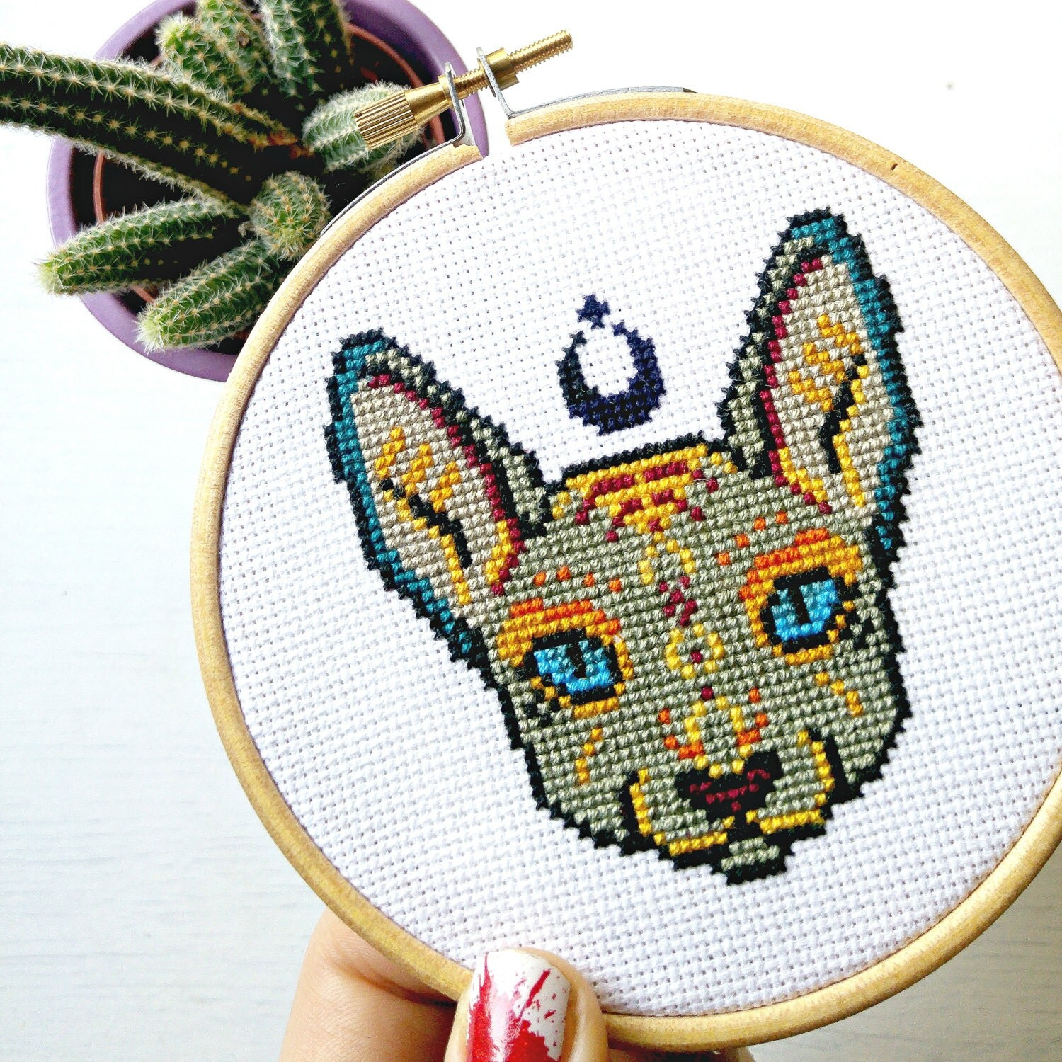 Sphynx finished cross stitch hoop wall art by pyrodogpins