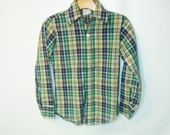 60s BILLY the KID Boy's Plaid Shirt Cotton Woven Mid Century Lumberjack Flannel Grunge Green Navy Blue Boy Scout Camping Hipster Classic