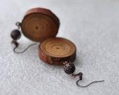 pine wood earrings jewelry • beautiful pine wood earrings