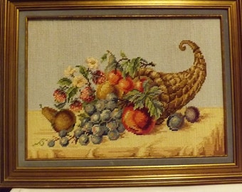 Fruit and Flowers Cornucopia Needlepoint Picture ( professionally framed)