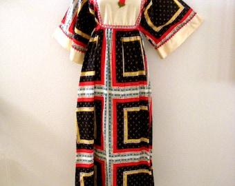 Vintage 60s 70s Hippie Festival Dress - Angel Sleeve Boho Maxi Dress - Patchwork Pattern Bell Sleeve Maxi Dress - 1970s 1960s - Medium