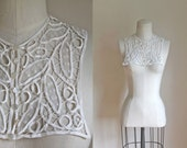 reserved /// vintage 1930s lace collar - PEA PODS cotton ribbon detachable collar