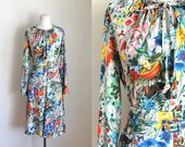 vintage 1970s dress set - FOREST FLOOR novelty print blouse & skirt set / L-XL