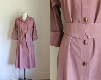 vintage 1970s mauve shirt dress - RUSSET ROSE trench belted dress / M