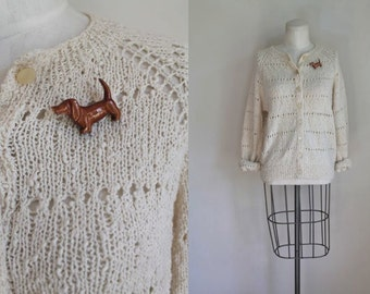 vintage cream cardigan - DOGWOOD pointelle wiener dog sweater / M-L