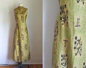 vintage 1960s novelty print dress - EGYPTIAN SAILORS boat print maxi dress / S