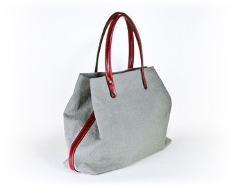 padbag TOTE for modern ladies - - LIGHTGRAY canvas and RED leather