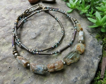 Rough Aquamarine Necklace, rustic yet dainty blue green March birthstone jewelry hand made with raw stone crystal beads