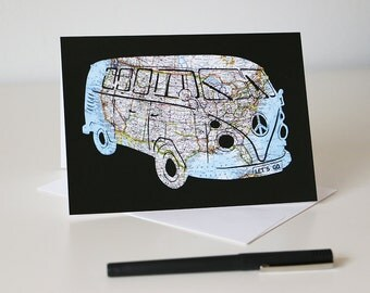 Volkswagen Bus Map Card // VW Art Print // 5x7 Greeting Card // Ready to Frame